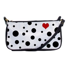 Dots And Hart Shoulder Clutch Bags by Valentinaart