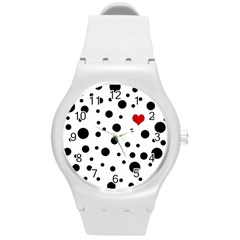 Dots And Hart Round Plastic Sport Watch (m) by Valentinaart