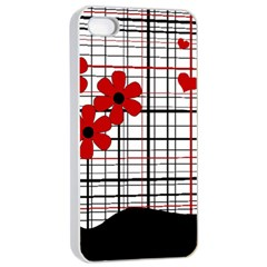 Cute Floral Desing Apple Iphone 4/4s Seamless Case (white) by Valentinaart