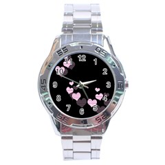 Pink Harts Design Stainless Steel Analogue Watch by Valentinaart
