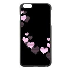 Pink Harts Design Apple Iphone 6 Plus/6s Plus Black Enamel Case by Valentinaart