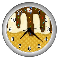 Ice Cream Zoom Wall Clocks (silver)  by Valentinaart
