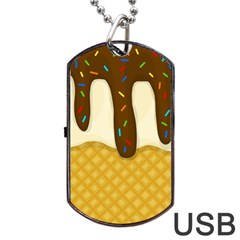Ice Cream Zoom Dog Tag Usb Flash (one Side) by Valentinaart