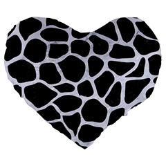 Skin1 Black Marble & White Marble (r) Large 19  Premium Flano Heart Shape Cushion by trendistuff