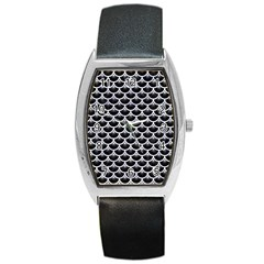 Scales3 Black Marble & White Marble Barrel Style Metal Watch by trendistuff