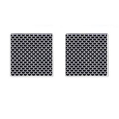 Scales3 Black Marble & White Marble Cufflinks (square) by trendistuff
