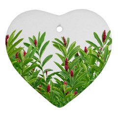 Tropical Floral Print Heart Ornament (two Sides) by dflcprints