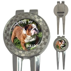Bulldog Red And White Love W Pic 3-in-1 Golf Divots by TailWags