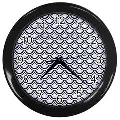 Scales2 Black Marble & White Marble (r) Wall Clock (black)