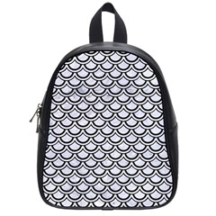 Scales2 Black Marble & White Marble (r) School Bag (small) by trendistuff
