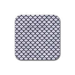 Scales1 Black Marble & White Marble (r) Rubber Square Coaster (4 Pack) by trendistuff