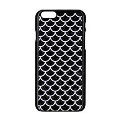 Scales1 Black Marble & White Marble Apple Iphone 6/6s Black Enamel Case by trendistuff