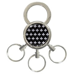 Royal1 Black Marble & White Marble (r) 3 Ring Key Chain by trendistuff