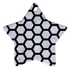 Hexagon2 Black Marble & White Marble (r) Star Ornament (two Sides) by trendistuff