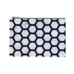 Hexagon2 Black Marble & White Marble (r) Cosmetic Bag (large) by trendistuff