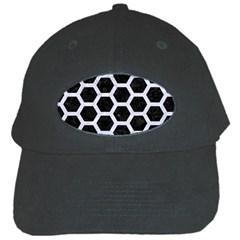 Hexagon2 Black Marble & White Marble Black Cap by trendistuff