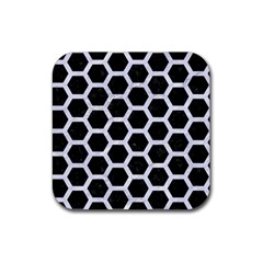 Hexagon2 Black Marble & White Marble Rubber Square Coaster (4 Pack) by trendistuff