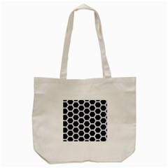 Hexagon2 Black Marble & White Marble Tote Bag (cream) by trendistuff