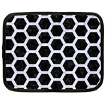 HEXAGON2 BLACK MARBLE & WHITE MARBLE Netbook Case (Large) Front