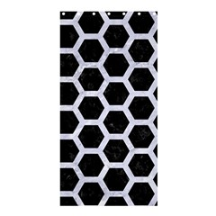 Hexagon2 Black Marble & White Marble Shower Curtain 36  X 72  (stall) by trendistuff