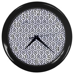 Hexagon1 Black Marble & White Marble (r) Wall Clock (black) by trendistuff