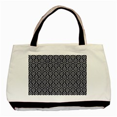 Hexagon1 Black Marble & White Marble Basic Tote Bag (two Sides) by trendistuff