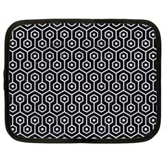 Hexagon1 Black Marble & White Marble Netbook Case (xxl) by trendistuff