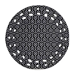 Hexagon1 Black Marble & White Marble Round Filigree Ornament (two Sides) by trendistuff