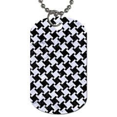 Houndstooth2 Black Marble & White Marble Dog Tag (two Sides) by trendistuff