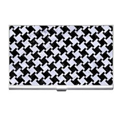 Houndstooth2 Black Marble & White Marble Business Card Holder by trendistuff