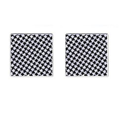Houndstooth2 Black Marble & White Marble Cufflinks (square) by trendistuff