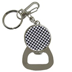 Houndstooth2 Black Marble & White Marble Bottle Opener Key Chain by trendistuff