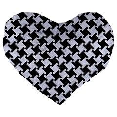 Houndstooth2 Black Marble & White Marble Large 19  Premium Flano Heart Shape Cushion by trendistuff