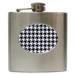 Houndstooth1 Black Marble & White Marble Hip Flask (6 Oz) by trendistuff