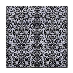 Damask2 Black Marble & White Marble (r) Tile Coaster by trendistuff