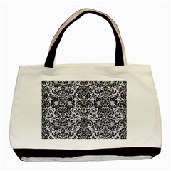 Damask2 Black Marble & White Marble (r) Basic Tote Bag (two Sides) by trendistuff