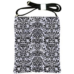 Damask2 Black Marble & White Marble (r) Shoulder Sling Bag by trendistuff