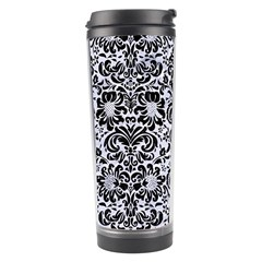 Damask2 Black Marble & White Marble (r) Travel Tumbler by trendistuff