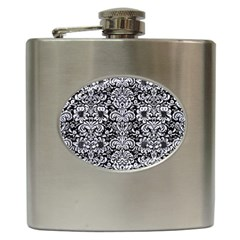 Damask2 Black Marble & White Marble Hip Flask (6 Oz) by trendistuff