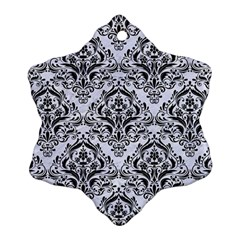 Damask1 Black Marble & White Marble (r) Snowflake Ornament (two Sides) by trendistuff