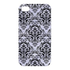 Damask1 Black Marble & White Marble (r) Apple Iphone 4/4s Hardshell Case by trendistuff