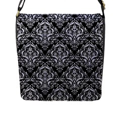 Damask1 Black Marble & White Marble Flap Closure Messenger Bag (l) by trendistuff