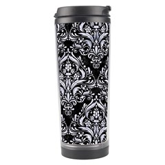 Damask1 Black Marble & White Marble Travel Tumbler by trendistuff