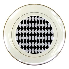 Diamond1 Black Marble & White Marble Porcelain Plate by trendistuff