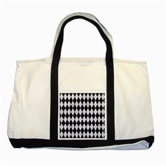 Diamond1 Black Marble & White Marble Two Tone Tote Bag by trendistuff