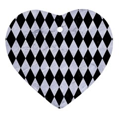 Diamond1 Black Marble & White Marble Heart Ornament (two Sides) by trendistuff
