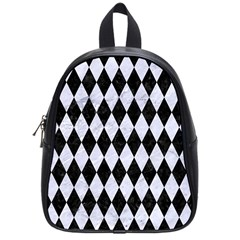 Diamond1 Black Marble & White Marble School Bag (small) by trendistuff