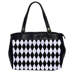 Diamond1 Black Marble & White Marble Oversize Office Handbag (2 Sides) by trendistuff