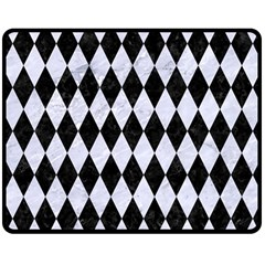 Diamond1 Black Marble & White Marble Double Sided Fleece Blanket (medium) by trendistuff