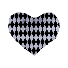 Diamond1 Black Marble & White Marble Standard 16  Premium Flano Heart Shape Cushion  by trendistuff